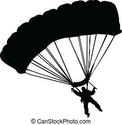 parachutists - vector - illustration of parachutists -...