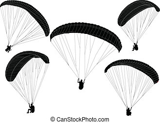 paraglider silhouette - vector