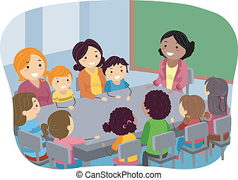 Illustration of Parents and Their Kids Attending a PTA Meeting