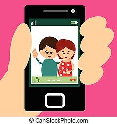 Illustration of parents making a vi