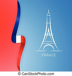 Illustration of Paris Eiffel Tower with flag of country France. Vector illustration