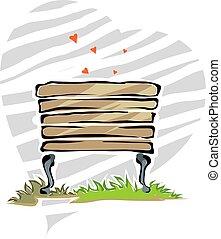 park bench - Illustration of park bench in background