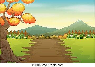 Illustration of park road in autumn landscape