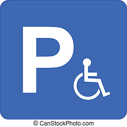 Parking Sign - Illustration Of Parking Sign For Disabled...