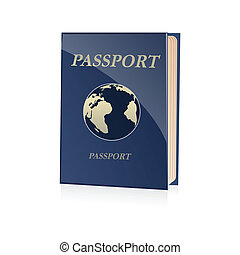 passport icon - illustration of passport icon on white...