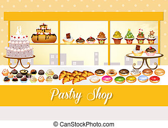 illustration of pastry shop