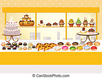 pastry shop - illustration of pastry shop