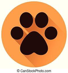 paw print circle flat icon