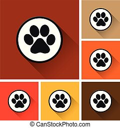 paw print icons with long shadow