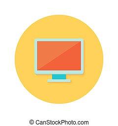 PC display icon over orange