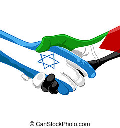 illustration of peace between israel and palestine on white background