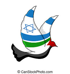 illustration of peace bird painted with israel and palestine flag on isolated background