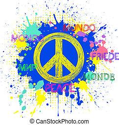 peace symbol on blue grunge background