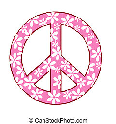 peace symbol - illustration of peace symbol with floral...