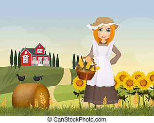 peasant girl in the countryside