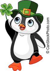 Penguin celebrates Saint Patrick Da - Illustration of...