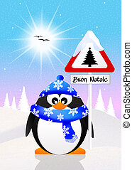 penguin with Christmas sign