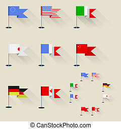 Illustration of pennants - Set of flags of the world on ...