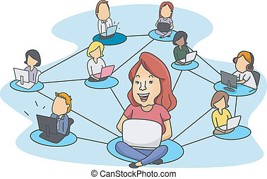 Social Networking - Illustration of People Demonstrating...