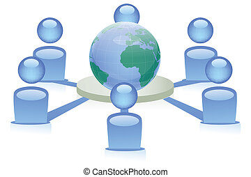 illustration of people from around the world connecting to form social networking