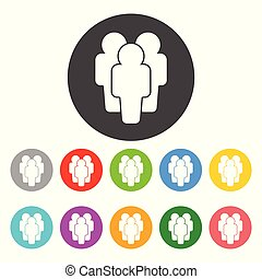 Illustration of people - icon silhouettes. Flat vector