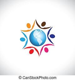 Illustration of people joining together with a center world icon. The graphic represents multi racial, global community of humans living in harmony and peace
