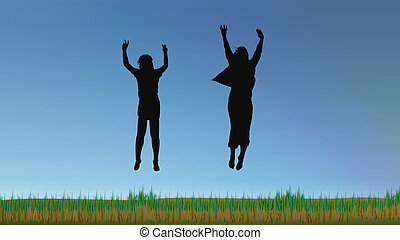 people making a big jump on a blue sky