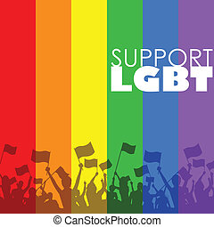 illustration of people showing LGBT support in rainbow color background