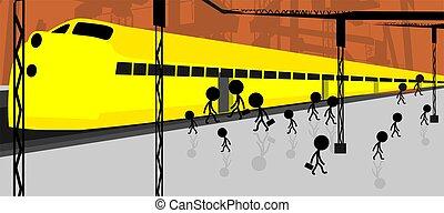 Illustration of people standing near the platform