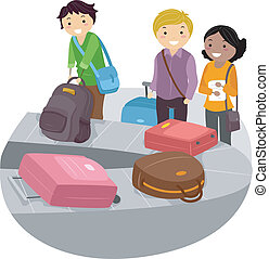 Airport Luggage Carousel - Illustration of People waiting...