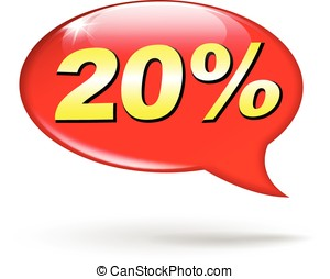 percentage red speech bubble