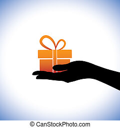 Illustration of person giving/receiving gift package. This...