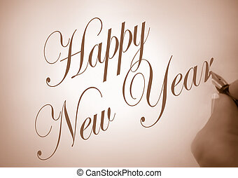 happy new year - illustration of person writing happy new...