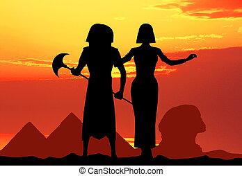 Pharaoh and Cleopatra - illustration of Pharaoh and...