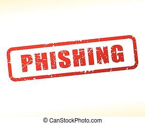 Illustration of phishing text buffered on white background
