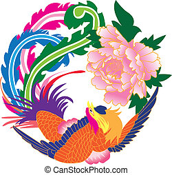 Phoenix and peony - illustration of Phoenix and peony