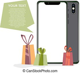 illustration of phone and gifts. Banner for the site