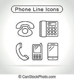 phone icons on white background