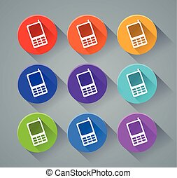 phone icons with various colors
