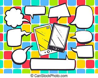 illustration of phone with speech comics bubbles on color