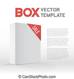 Photorealistic 3D Vector White Carton Box Sale Template Isolated