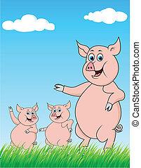 illustration of pig family cartoon