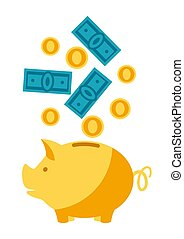 Illustration of piggy bank and money. Banking concept with ...