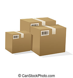 cardboard boxes - illustration of pile of cardboard boxes...