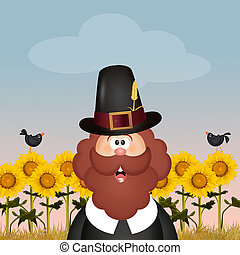 Pilgrim man in Thanksgiving Day