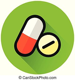 pills circle green flat icon
