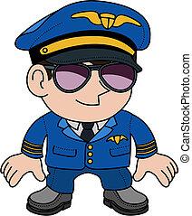 Illustration of flight pilot in sunglasses