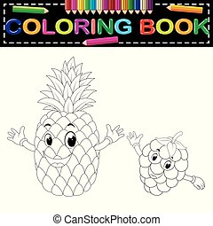 pineapple and Raspberry with face coloring book