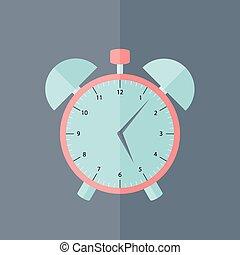 Pink and blue alarm clock flat icon