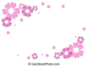 pink and violet flowers and dots on white background